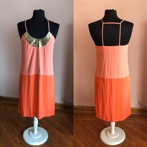 Diane Von Furstenberg silk color block dress